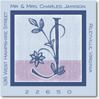 Name Doodles - Square Address Labels/Stickers (Floral Caps Blue)